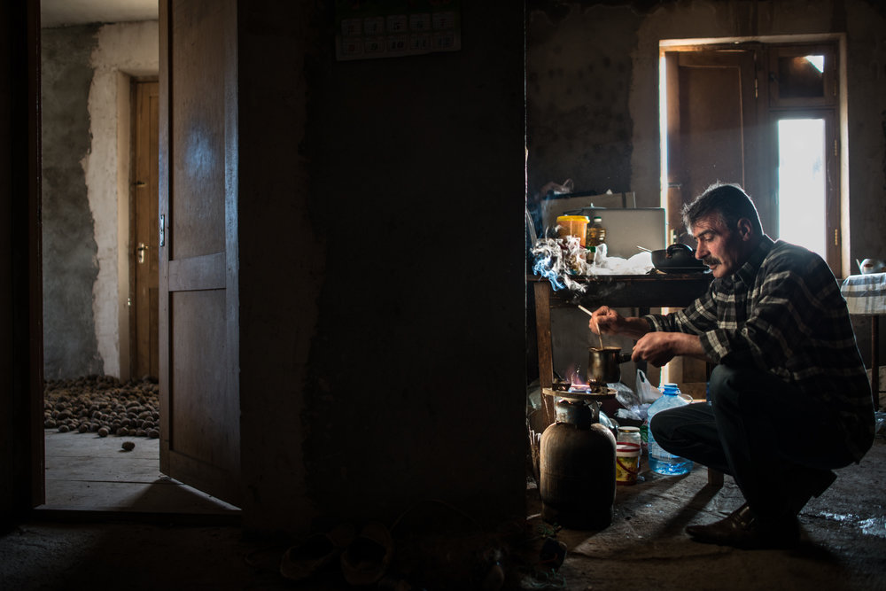 Hrach Donabedyan, 53, is Syrian Armenian and lives alone in Nagorno Karabakh's Kovsakan village.