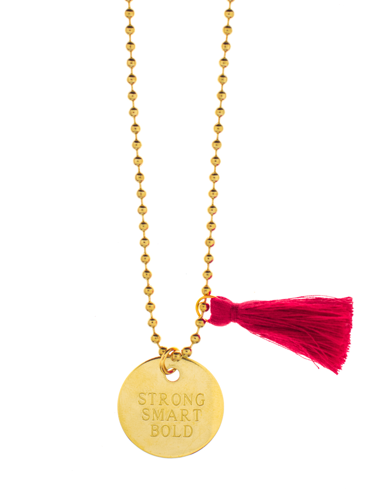 "GIRLS INC + LITTLE LUX ""STRONG SMART BOLD"" NECKLACE GUNNER & LUX, $24.99 This is a great gift that does the job of donation and a physical object wrapped into one. $5 of every necklace sold is donated to Girls Inc of Greater Atlanta."