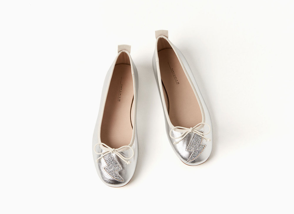 METALLIC LIGHTNING BALLERINAS ZARA, $29.90 If your little is anything like mine, she loves dressing up. These shoes let her dress up outside of the house. For the price these shoes are well made and wear beautifully.