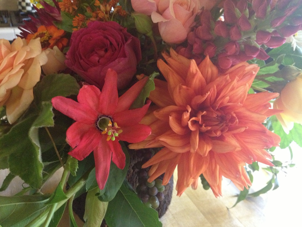 This flower geek was slightly obsessed with the farm fresh dahlias, hot pink passion flower, lupine, and garden roses.