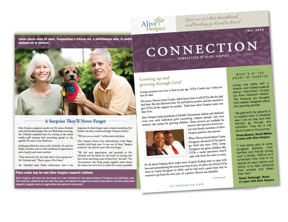 Amy Atkinson Communications Collaboration || Connection Newsletter || Alive Hospice