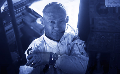 Buzz Aldrin with wrist watch. The Apollo moon landings used Eastern Daylight Time - the time zone of Mission Control in Florida.