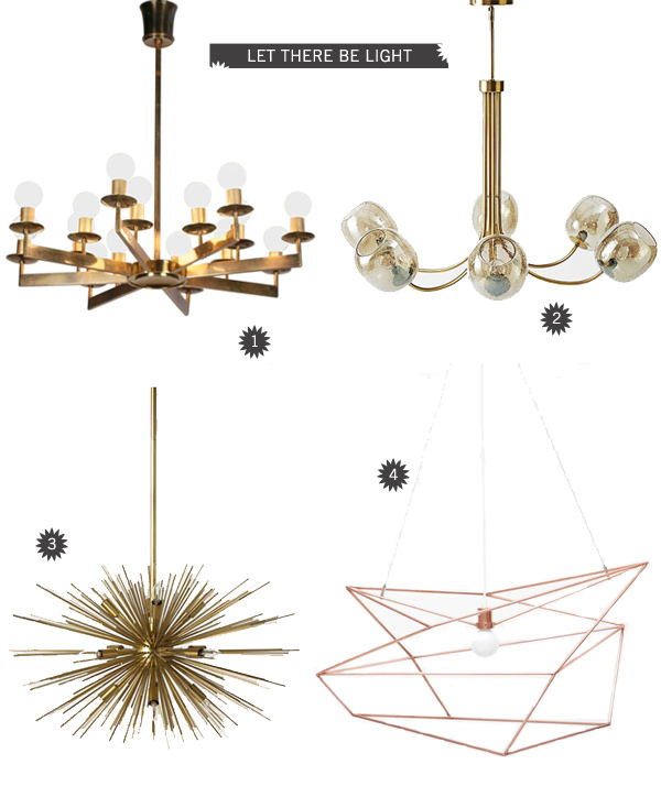 Lys upp i mörkret med dessa fantastiskt snygga lampor. Vi vill ha alla!  1.Sixteen Light Bronze Chandelier 2.Eclipse Chandelier - Brass 3.Anthropologie 4. Large Copper Spica     Bild  A house in the hills