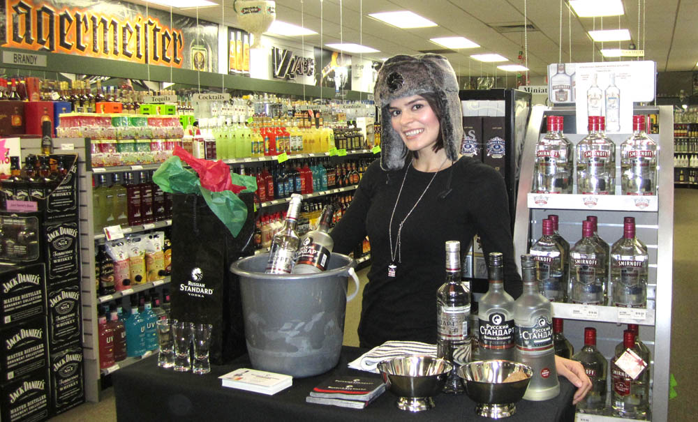 Beauté promotes Russian Standard Vodka at a Virginia ABC store tasting