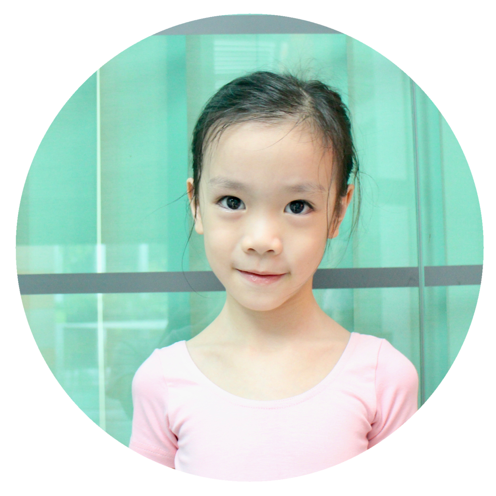 "Rachel Szetoh  - ""I like ballet a lot! I like my teacher Ms Naomi because she is very kind and teaches me a lot of new steps. I love dancing with all my friends and teacher! Also I love my ballet uniform because it is beautiful!"""