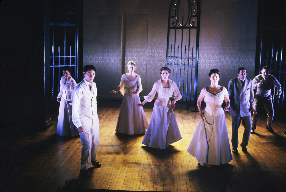 INNOCENTS (L-R): Margot Ebling, Andy Paris, Leeanne Hutchison, Jill A. Samuels, Paula McGonagle, Grant Neale, Christopher Oden. Photo by Rachel Dickstein.