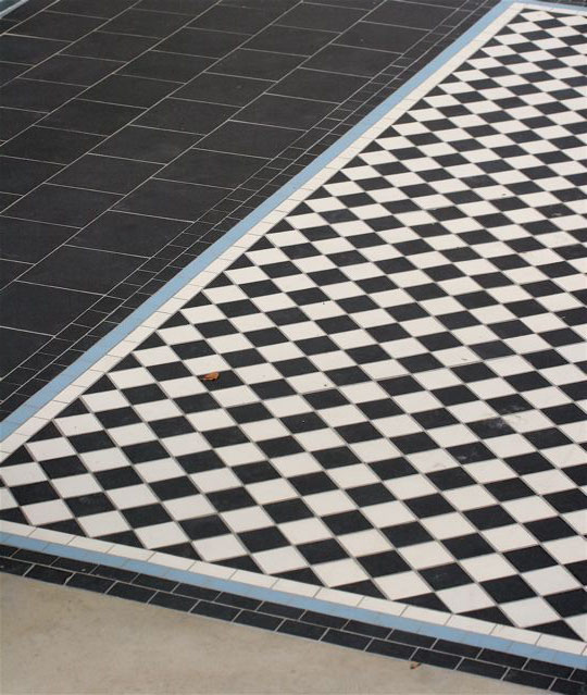 003  Black & White Chequer with Blue Line Pathway
