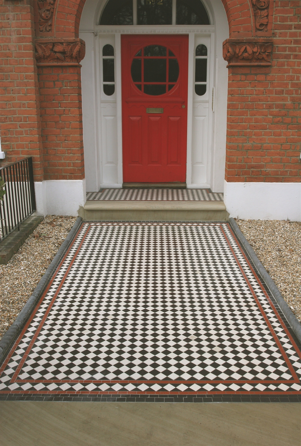 Black And White Victorian Tiled Path With Red Diamond Border