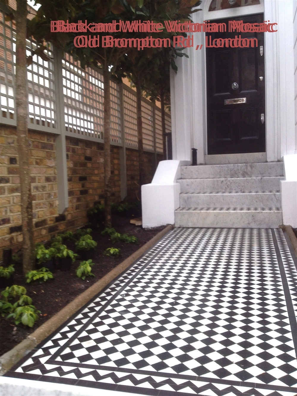 001 Black & White Chequer Mosaic with Black Zig Zag Border