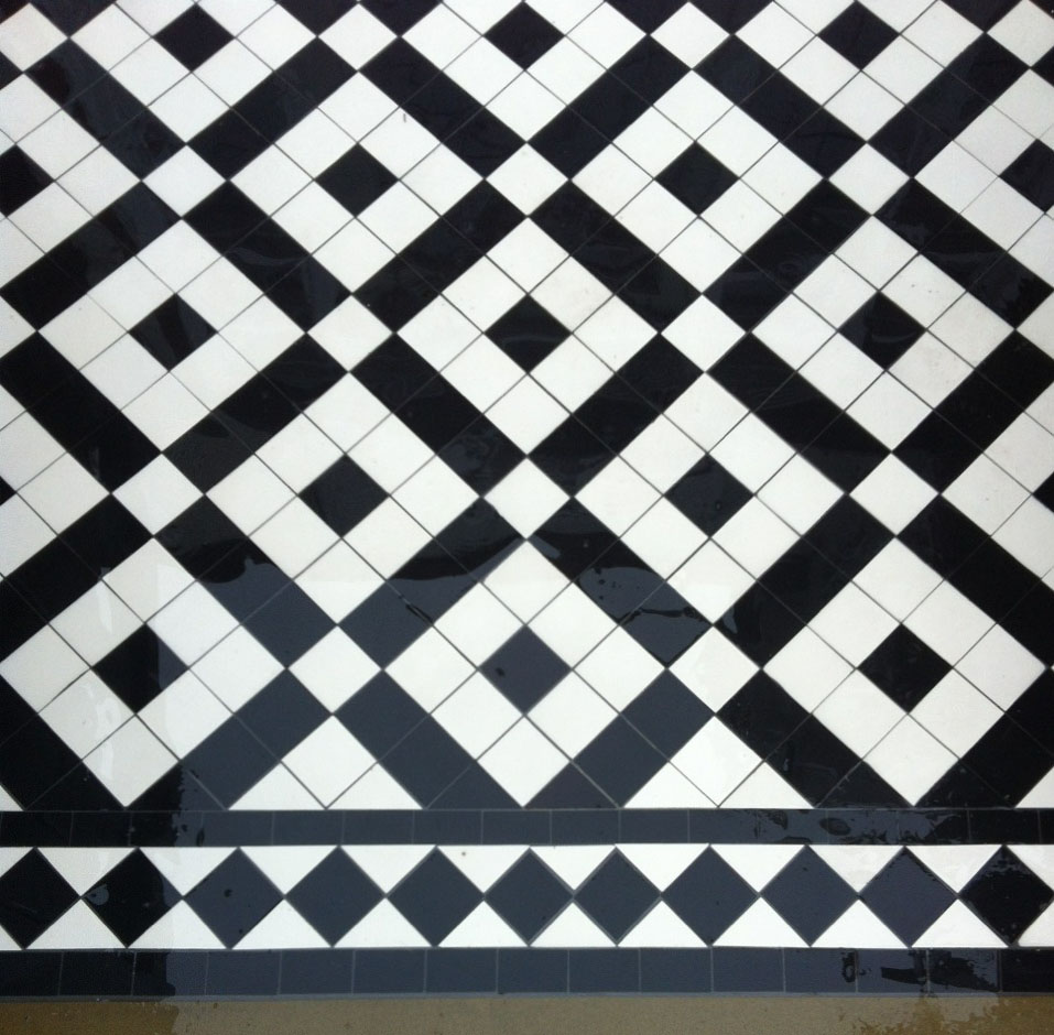 Black and white path tiles showing our Banded Boxes design with Black Diamond Border