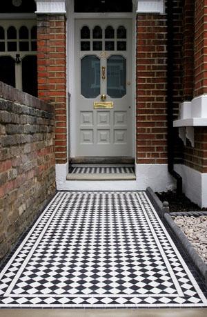 Black and white victorian tiles with a  White Diamond Border .