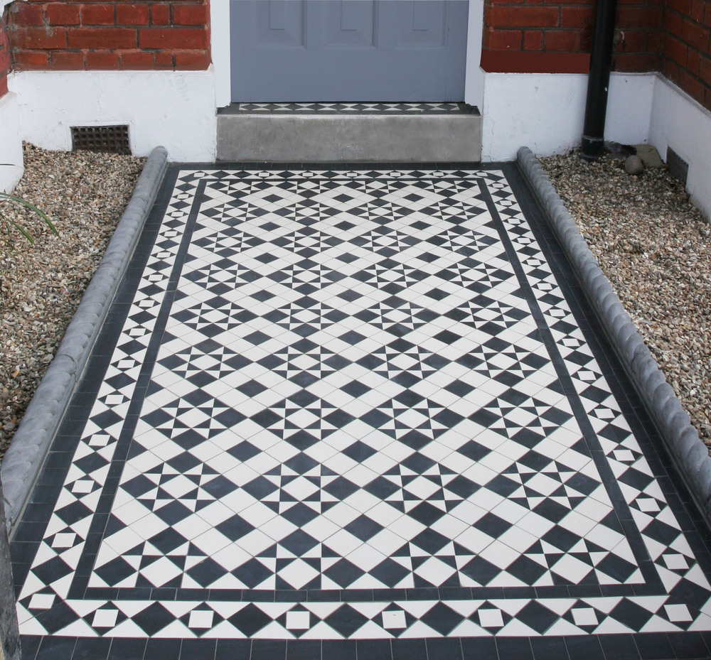 This mosaic pathway in Wandsworth, London is the same  Box and Star  design as the one above in Twickenham but with the  Belgravia border .  It reproduces the original mosaic path which had been damaged.