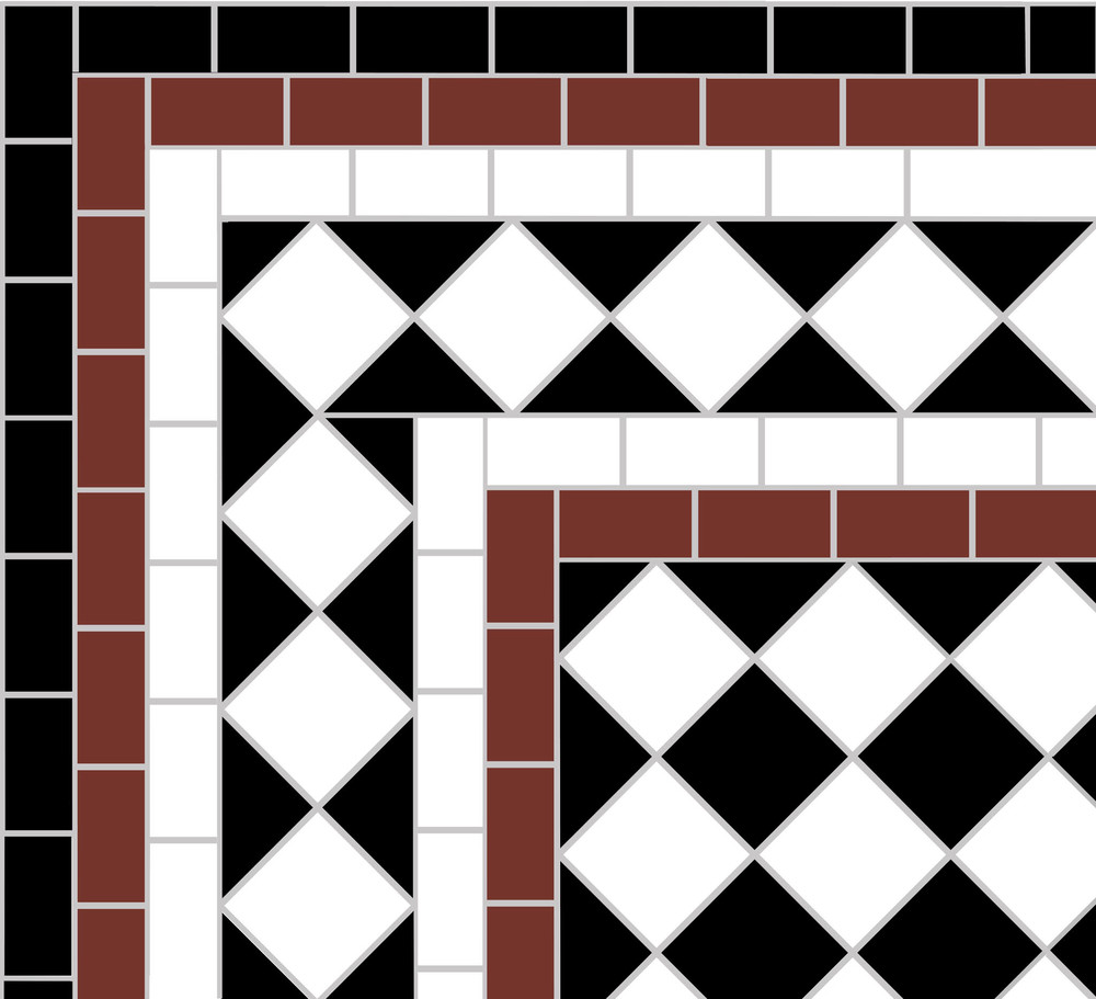 This illustrates the corner arrangement for a white Diamond Border surrounding the black and white mosaic in 5cm chequer format. This is a wide border suitable for larger spaces and includes some colour to reproduce the original border design. Four sheeted corner sections are included with the border to speed up the fitting process on site.