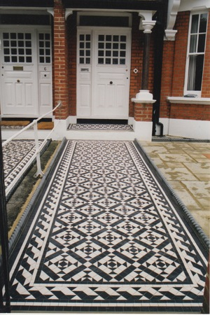 Victorian path tiles in Clarendon design with Wave border.