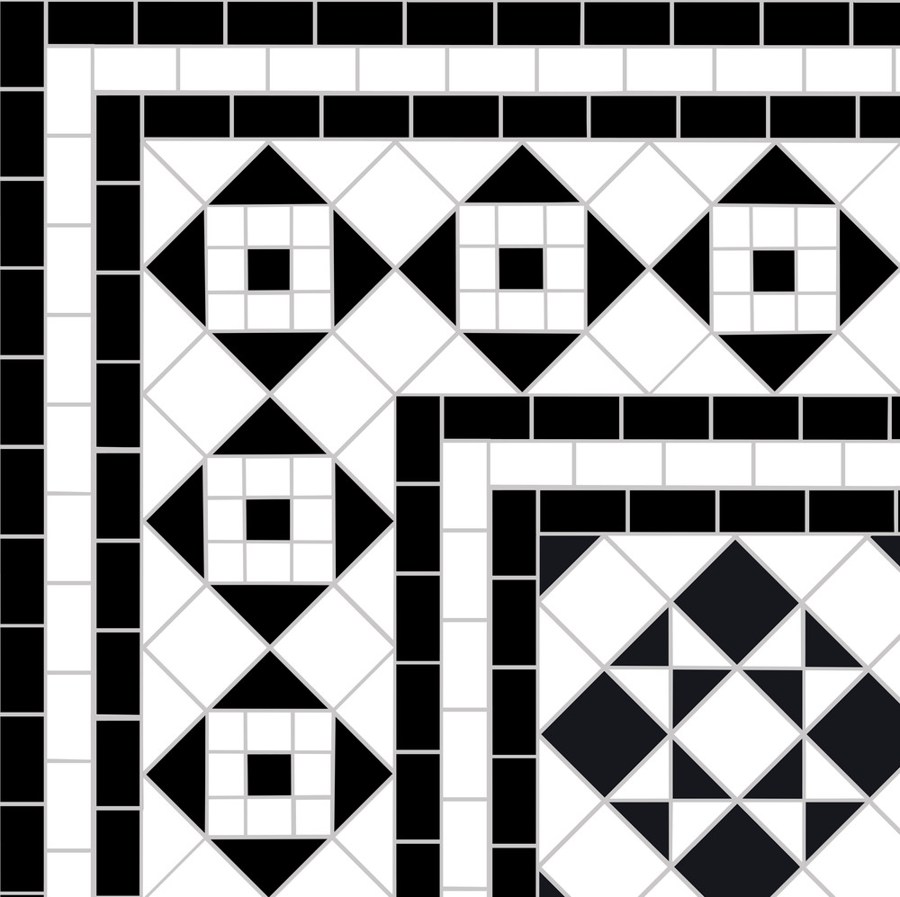 This is a corner detail of  St.Peter's Border  surrounding the  Box and Star  design based on 5cm black and white mosaic. It is a wide border so needs a large space to sit comfortably in but equally one could remove some of the border lines to make it narrower.