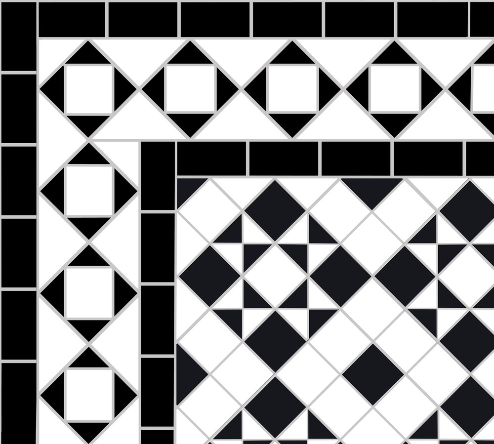 Victorian floor tiles showing a variation of   Belgravia Border   surrounding the   Box & Star pattern  in 5cm black and white mosaic.