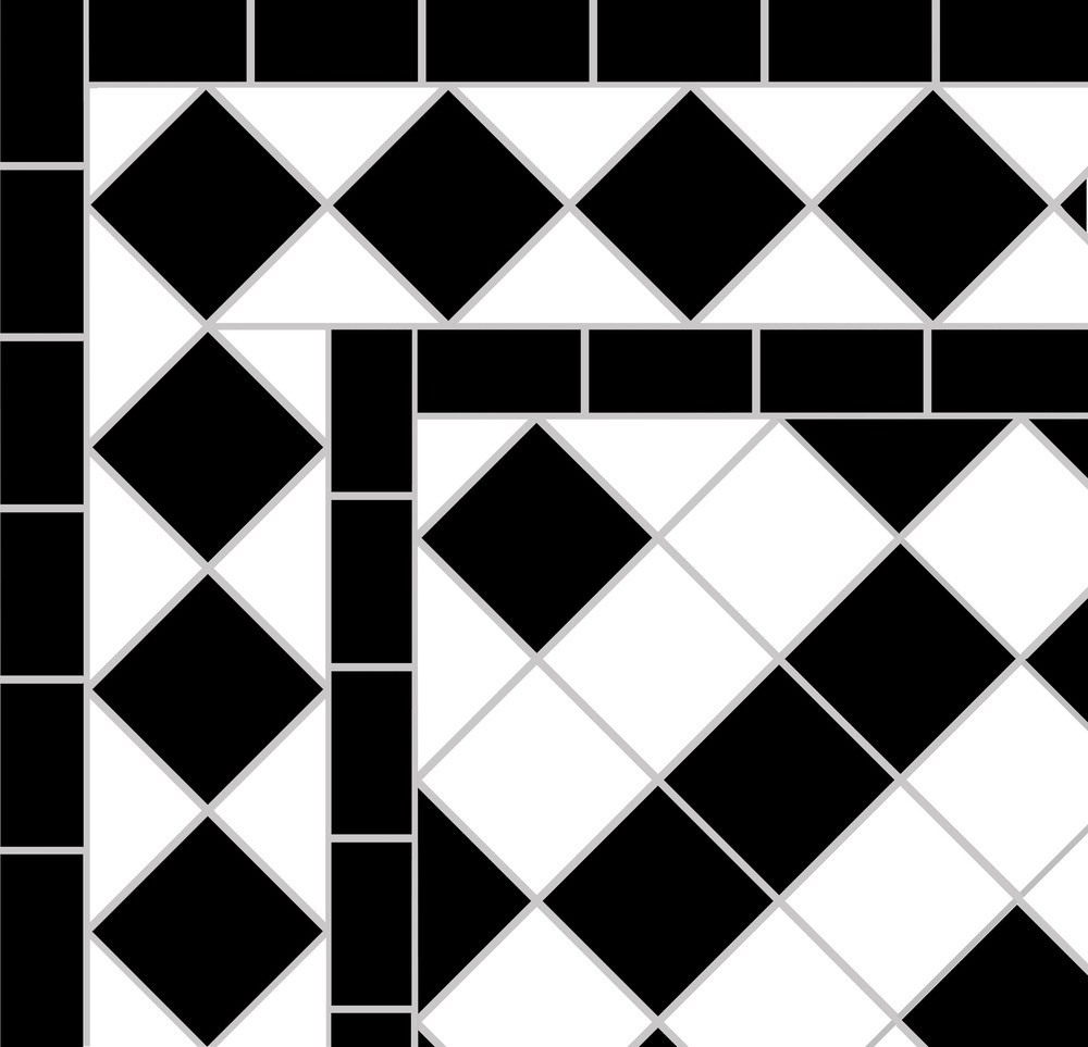 Black and white victorian tiles showing our Banded Box pattern   surrounded by a Black Diamond border.