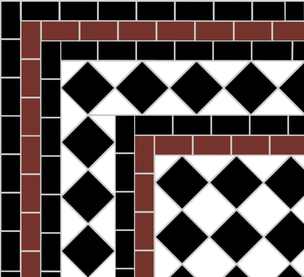 This victorian path tile design was used to reproduce the original pattern.
