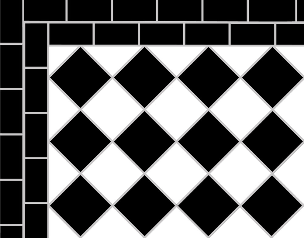 This illustrates one of the simplest black and white victorian tile pattern.