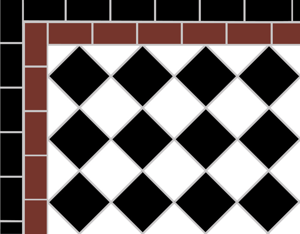 Victorian floor tile design showing  a Two Line Border surrounding the black and white 5cm chequer .