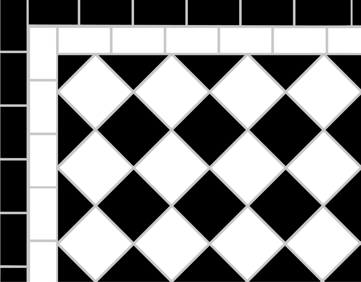 Black White 5cm Mosaic Path With Two Line Border Mosaics By Post