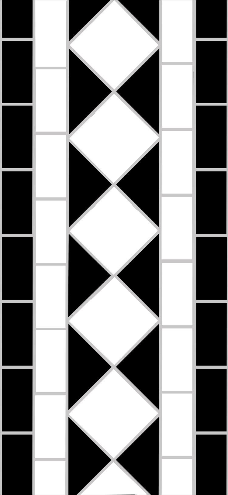 Diamond Border White Four Lines Per Linear Metre Mosaics By Post