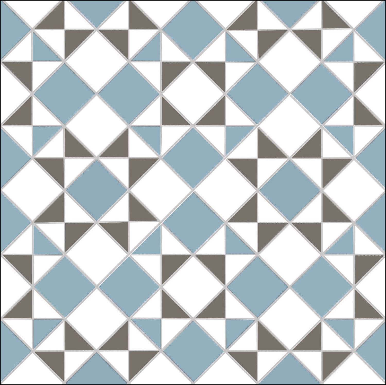 Star & Star - blue, grey, white. Option 1 — Mosaics By Post