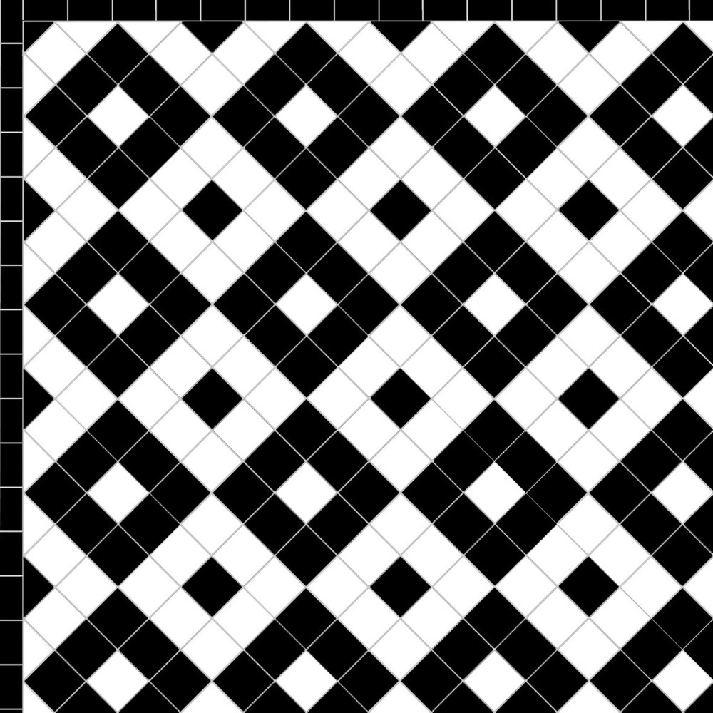 black and white victorian floor tiles