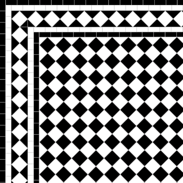Chequer -Diamond Border - White