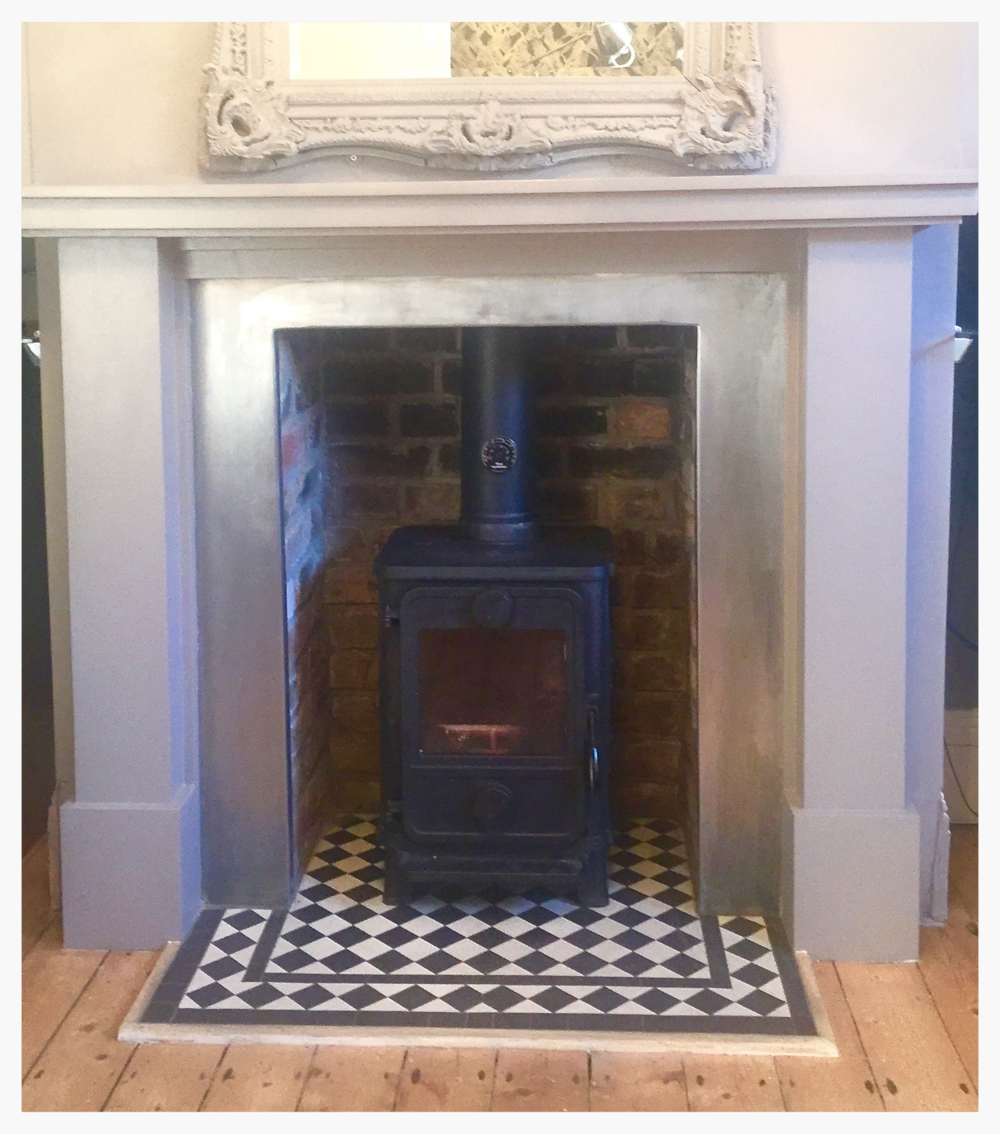 Black White Victorian Tile Fireplace Hearth Mosaics By Post