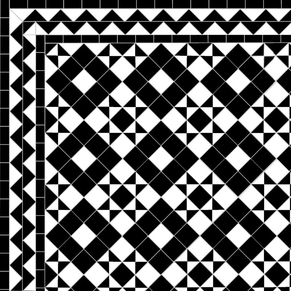 Dark Box & Star - Zig zag Border - black