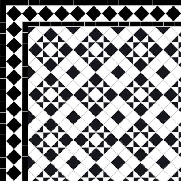Box & Star - Diamond Border - black