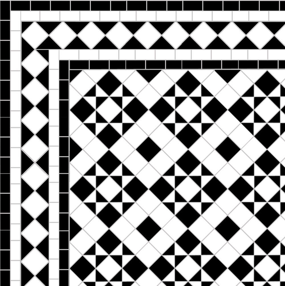Box & Star - Diamond Border - white