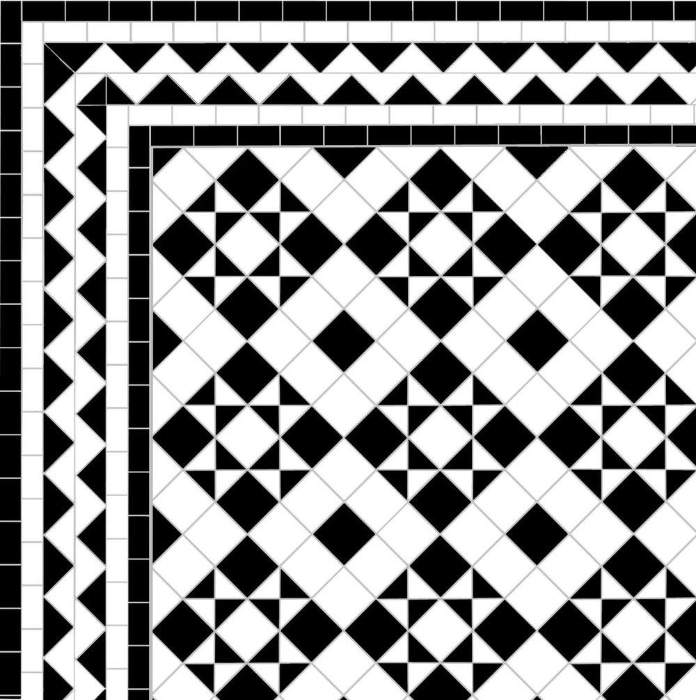 Box & Star - ZigZag Border - white