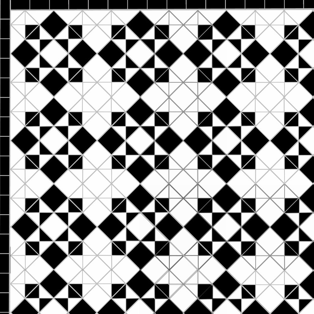 victorian black and white chequer mosaic floor tiles