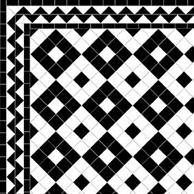 Alternating Box - ZigZag Border - Black