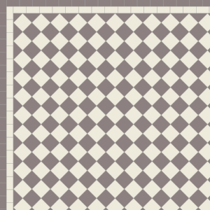 Chequer with Two Line Border in Anthracite & Old White