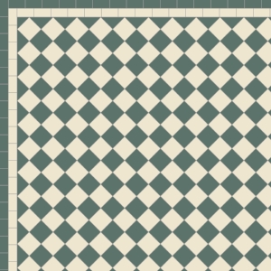 Chequer with Two Line Border in Dark Geen & Ontario