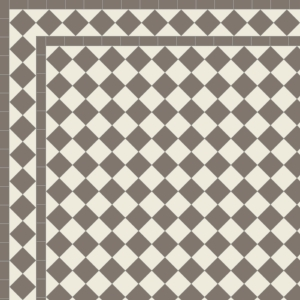 Chequer with Two Line Diamond Border in Grey & Old White