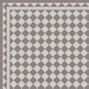 Chequer with Two Line Dog's Tooth Border in Anthracite & Pearl
