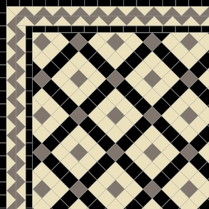 Banded Boxes with Two Line Zig-Zag Border in Ivory, Grey & Black
