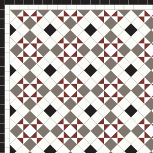 Box & Star with Two Line Border in Red, Grey, Black & White