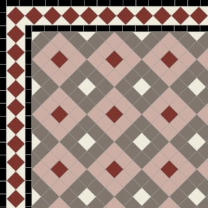 Alternating Boxes with Two Line Diamond Border in Grey, Old White & Old Pink & Red