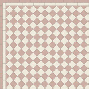 Chequer with Two Line Border in Old Pink & Old White