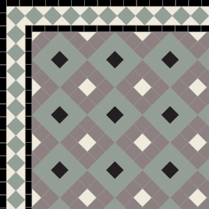 Alternating Boxes with Two Line Diamond Border in Pearl, Grey, Old Pink & Parme