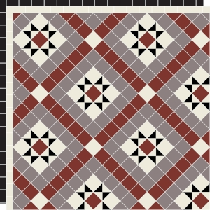Marazion with Two Line Border in Red, Anthracite, Old White & Black