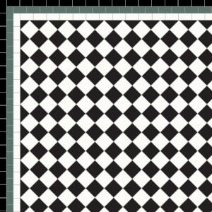 Chequer - £108 3 Line Border - £38/Linear m.  Black, White & Green
