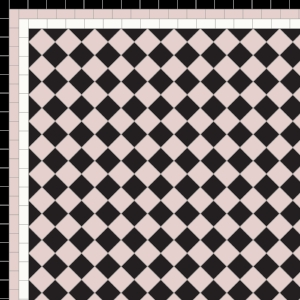 Chequer - £130 3 Line Border - £38/Linear m.  Black, Rose & White