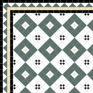 Lyme Bay-£185 3 Line Dogtooth Border - £62/Lin. m.  Black, White, Green & Ivory