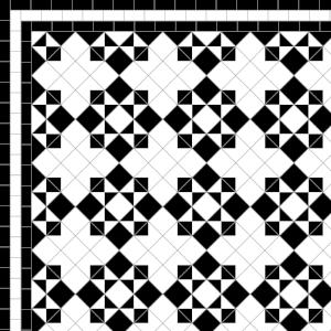 Star & Cross - £235 3 Line Border - 38/Linear m.  Black & White
